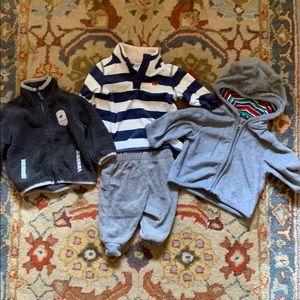 Lot of four 3mo Carter's fleece pants/tops
